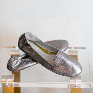 Gap Leather Ballet Flat Metallic Leather Platinum